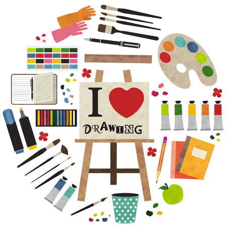 art and craft: Paint supplies equipment tools . Vector illustration design. Illustration