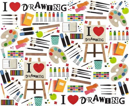 palette knife: Paint supplies equipment tools . Vector illustration design pattern. Illustration