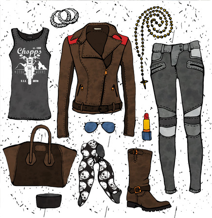 outfit: Fashion illustration clothing set. Biker style outfit.