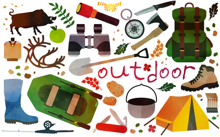 outdoor activities: Set of vector icons for camping, outdoor activities and hunting.Vector illustration. Illustration