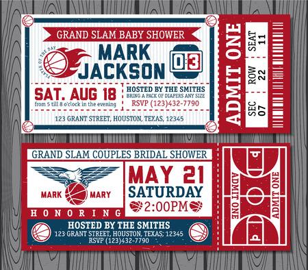 biglietto: Set di biglietti di basket d'epoca. Vectr illustrazione.