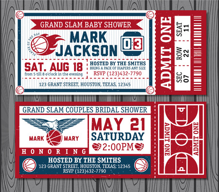 Set of vintage basketball tickets. Vectr illustration. Illustration