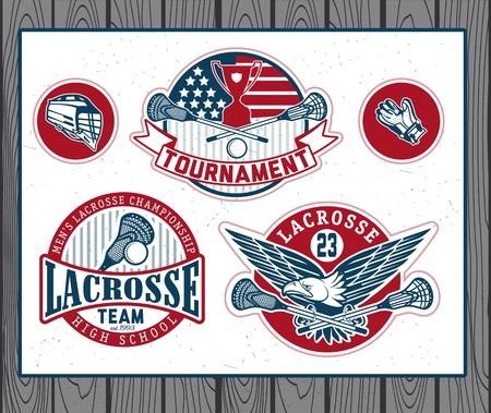 lax: Set of vintage lacrosse labels and badges. Vectr illustration.