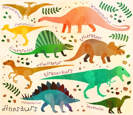 Pattern with cartoon dinosaurs for kids.  Vector illustration.