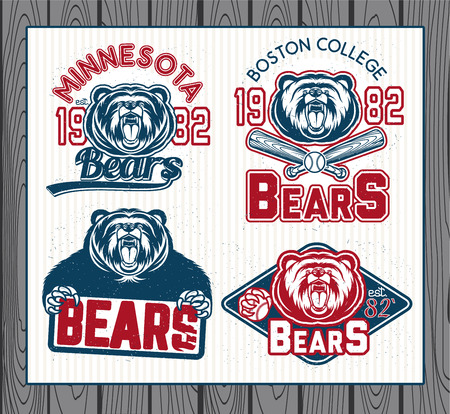 athletic type: Set of vintage sport labels, badges and design elements. Graphic Mascot Vector Image of a bear.