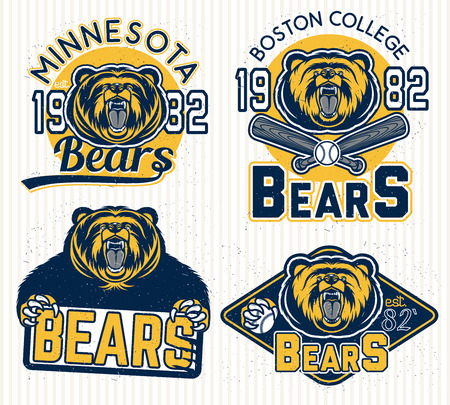 Set of vintage sport labels, badges and design elements. Graphic Mascot Vector Image of a bear.