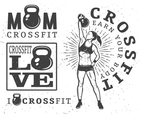 Set of monochrome fitness emblems, labels, badges, and designed elements. Vettoriali