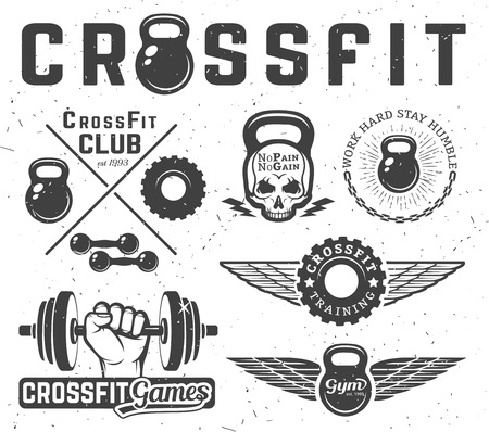 barbell: Set of monochrome fitness emblems, labels, badges, logos and designed elements.