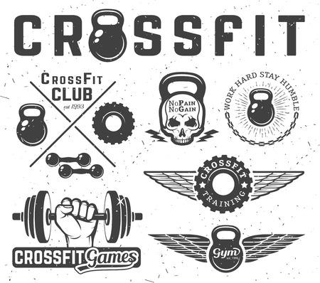 gymnastics silhouette: Set of monochrome fitness emblems, labels, badges, logos and designed elements.