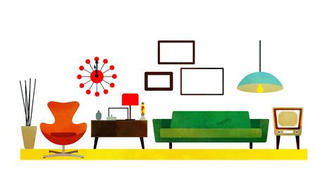 Retro Living Room Design met meubilair. Vlakke stijl vector illustratie.