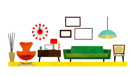 dining room: Retro Living Room Design with furniture. Flat style vector illustration.