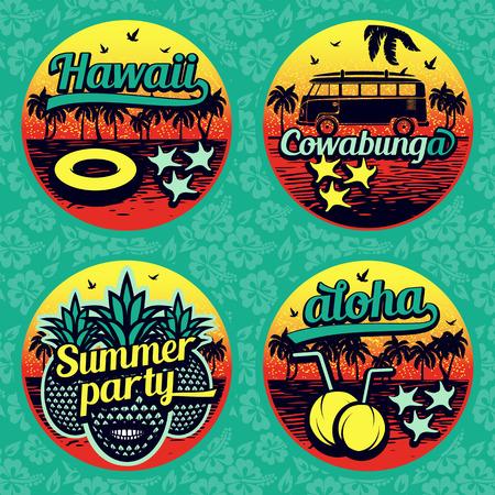 Vintage summer labels collection. Retro design stickers. Vector