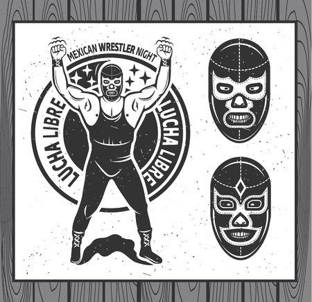 Conjunto luchador mexicano. Lucha Libre. Ilustración vectorial