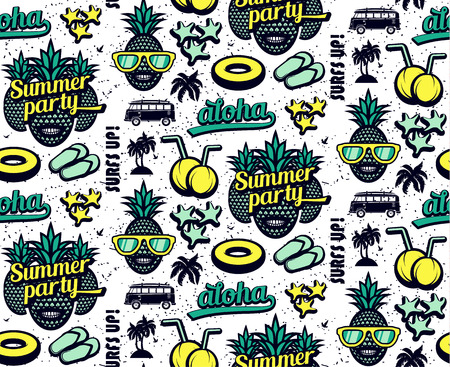 Summer seamless pattern with pineapples and surfing elements Vector