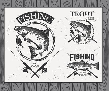 Vintage trout fishing emblems, labels and design elements.  Vector illustration.