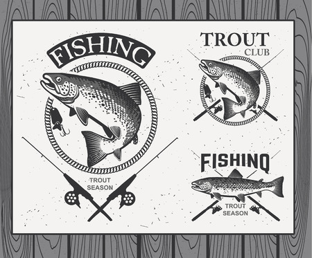 spinning: Vintage trout fishing emblems, labels and design elements.  Vector illustration.