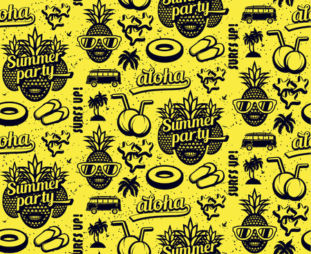 Summer seamless pattern with pineapples and surfing elements