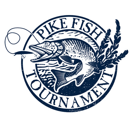 Vintage pike fishing emblem, design element and label Illustration