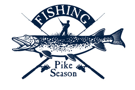 Vintage pike fishing emblem, design element and label Çizim