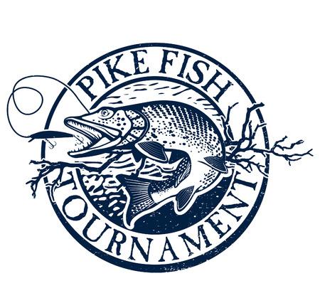 Weinlese-Fischen auf Hecht Emblem, Design-Element und Label Standard-Bild - 41640646