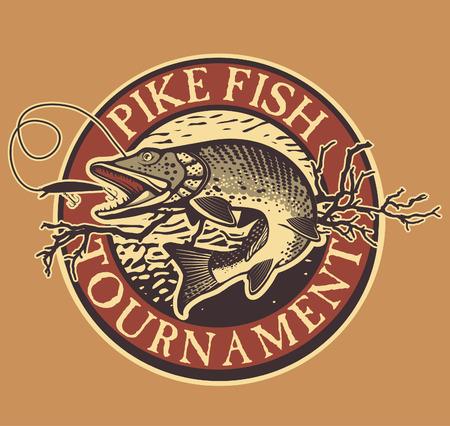 lure: Vintage pike fishing emblem, design element and label Illustration