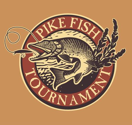 Vintage pike fishing emblem, design element and label 일러스트