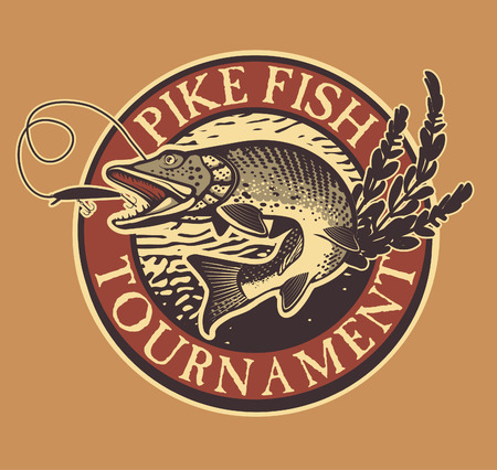 Vintage pike fishing emblem, design element and label Stock Illustratie