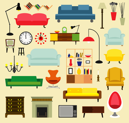 lunchroom: Cartoon furniture for living rooms . Flat style vector illustration.