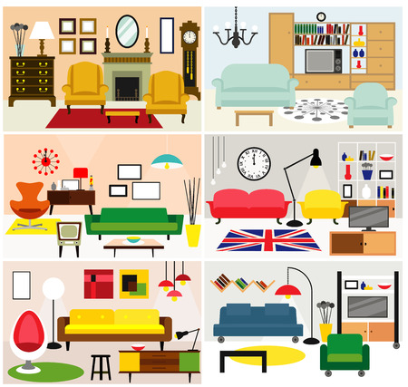 Cartoon living rooms with furniture. Flat style vector illustration.
