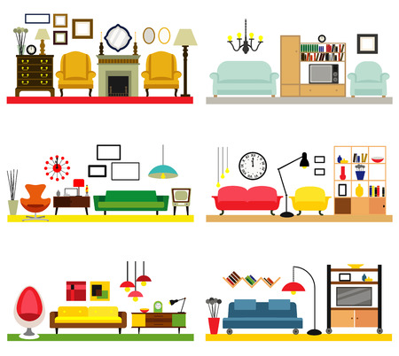 interior decoration: Cartoon living rooms with furniture. Flat style vector illustration.