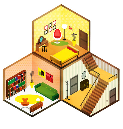 cutaway: Vector isometric living rooms icon. Vector illustration