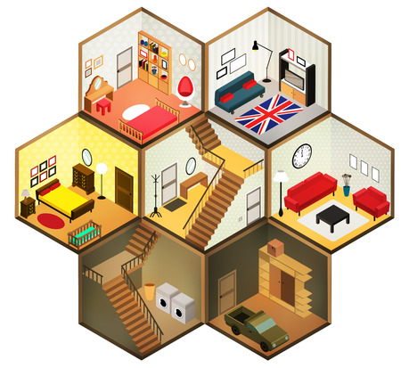 Vector isometric living rooms icon. Vector illustration