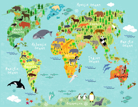 world map: Animal map of the world for children and kids