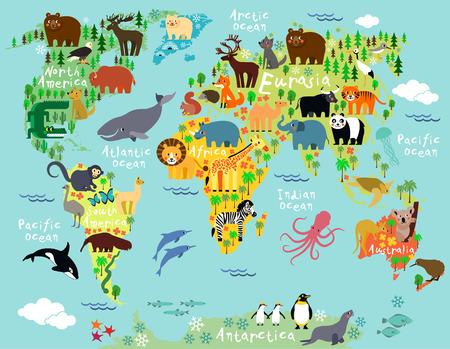 어린이와 어린이를위한 세계의 동물지도 스톡 콘텐츠 - 41853684