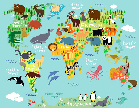 Animal map of the world for children and kids Фото со стока - 41853684