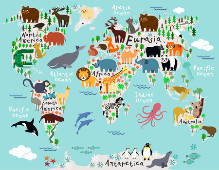 Animal map of the world for children and kids Фото со стока - 41878962