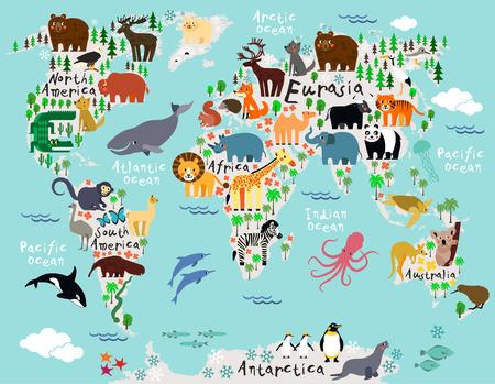 animais: Mapa animal do mundo para as crian Ilustração