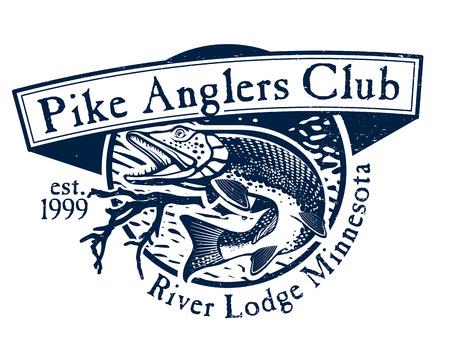 pike: Vintage pike fishing emblem
