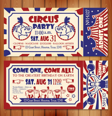payasos caricatura: Venta de entradas Circo en el fondo �rbol. Ilustraci�n vectorial Vectores