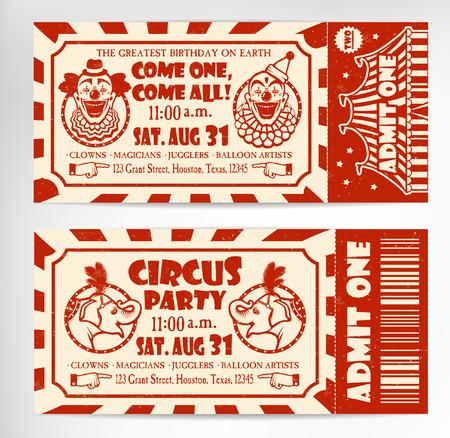 clown cirque: Cirque Ticket sur l'arbre arri�re-plan. Vector illustration