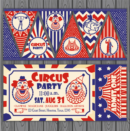 Circus Ticket on tree background. Vector illustration