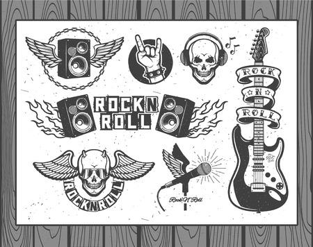 Ensemble de symboles de vecteurs liés au rock and roll Banque d'images - 43334553