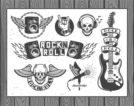 grunge music background: Set of vector symbols related to rock and roll