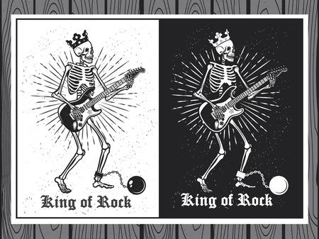Illustratie van menselijk skelet met gitaar. King of Rock. Skelet gitarist. Vector Illustratie