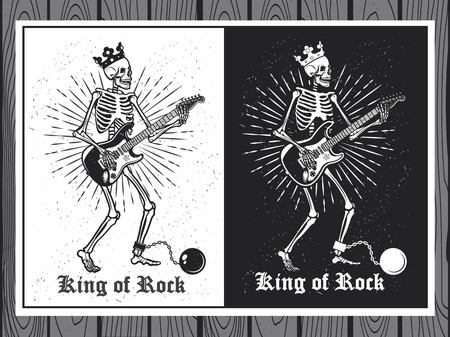hard rock: Illustration of human skeleton with guitar. King of Rock. Skeleton guitar player.