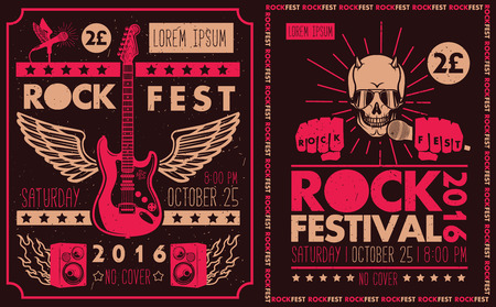 rock band: Vintage rock festival posters. Set of vector symbols related to rock and roll.