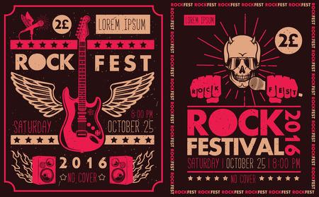 vintage: Vintage rock festival posters. Set van vector symbolen met betrekking tot rock en roll.