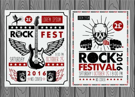 concierto de rock: Vintage carteles del festival de rock. Conjunto de símbolos vectoriales relacionados con el rock and roll. Vectores