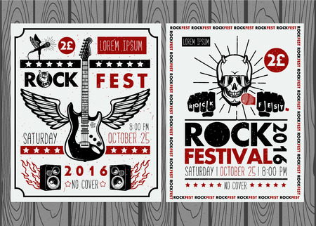 rocks: Vintage rock festival posters. Set of vector symbols related to rock and roll.