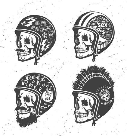 grunge skull: Motorcycle Themed handmade drawing helmets with skull. Helmets set.
